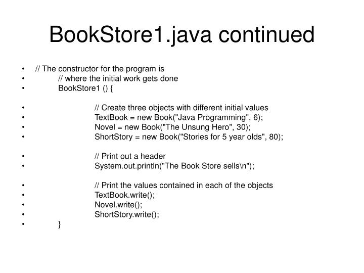 BookStore1.java continued