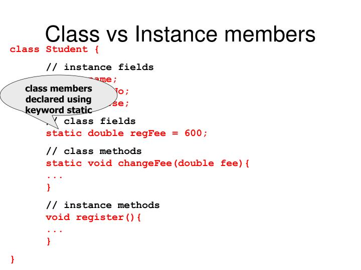 Class vs Instance members
