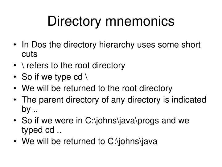 Directory mnemonics