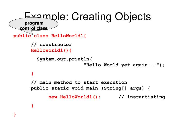 Example: Creating Objects