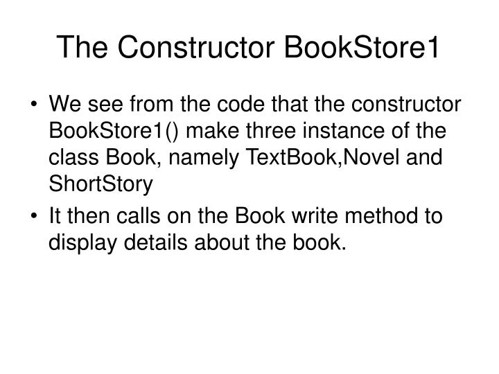 The Constructor BookStore1