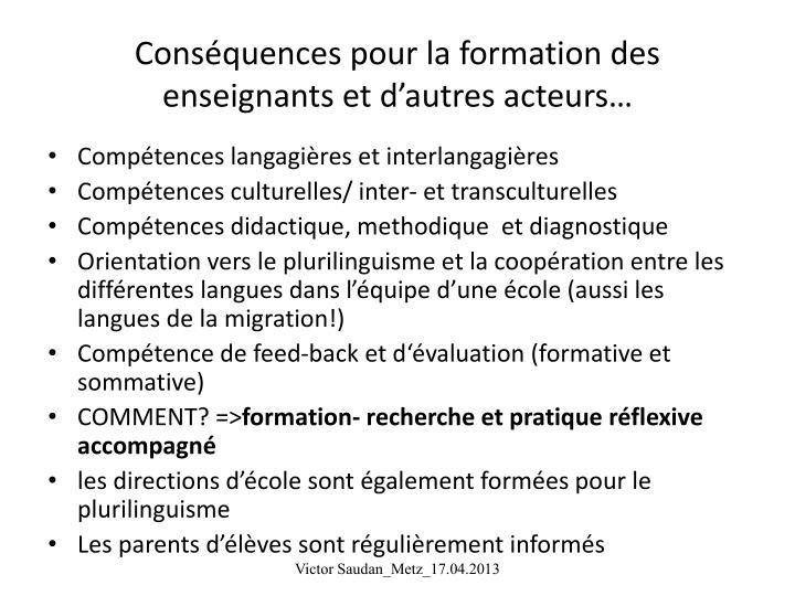 Conséquences pour la formation des enseignants et d