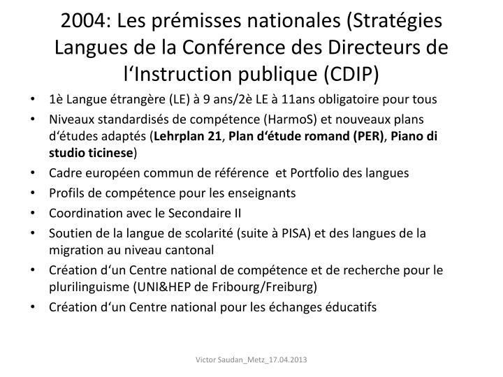2004: Les prémisses nationales (Stratégies Langues de la Conférence des Directeurs de l