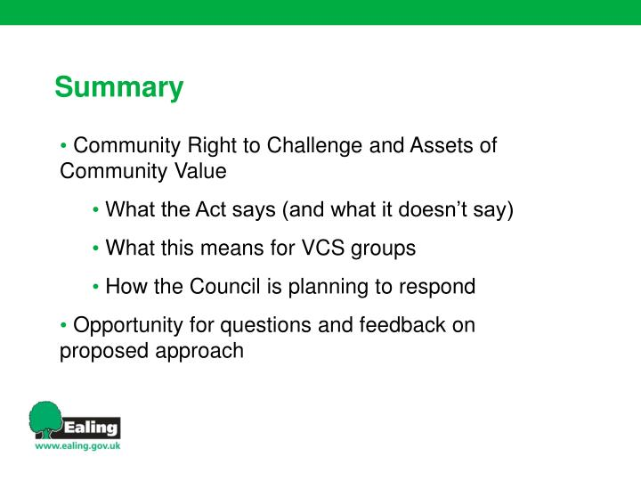 Community Right to Challenge and Assets of Community Value