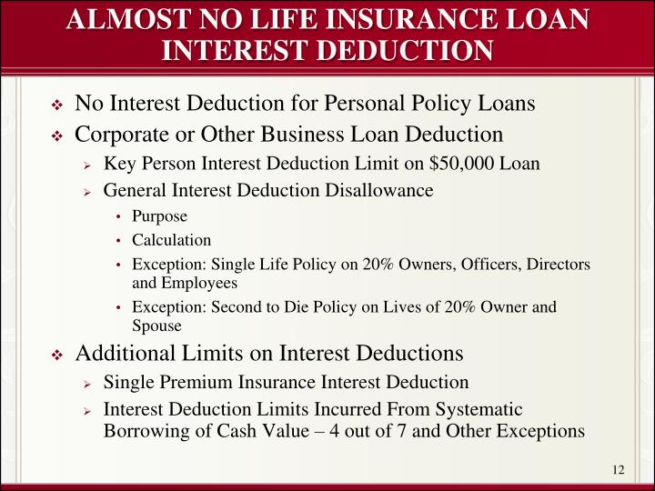 ALMOST NO LIFE INSURANCE LOAN INTEREST DEDUCTION