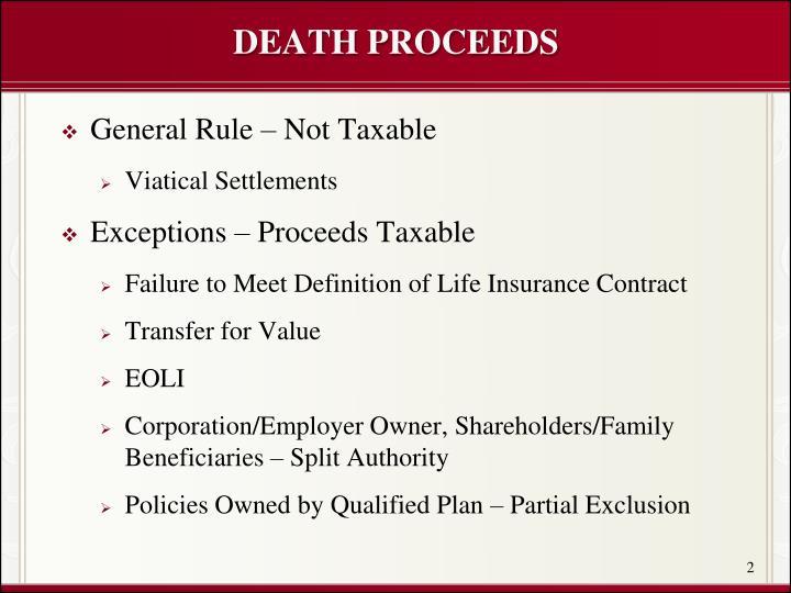 DEATH PROCEEDS