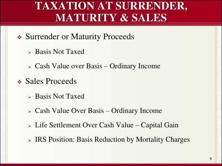 TAXATION AT SURRENDER, MATURITY & SALES