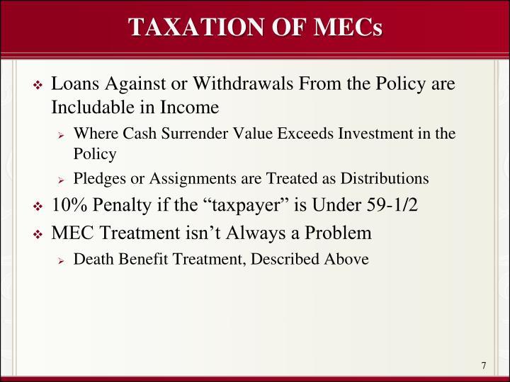 TAXATION OF MECs