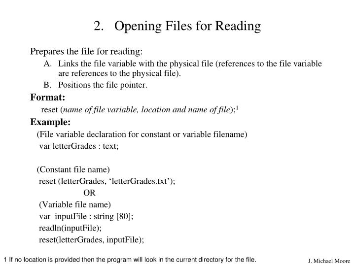 Opening Files for Reading