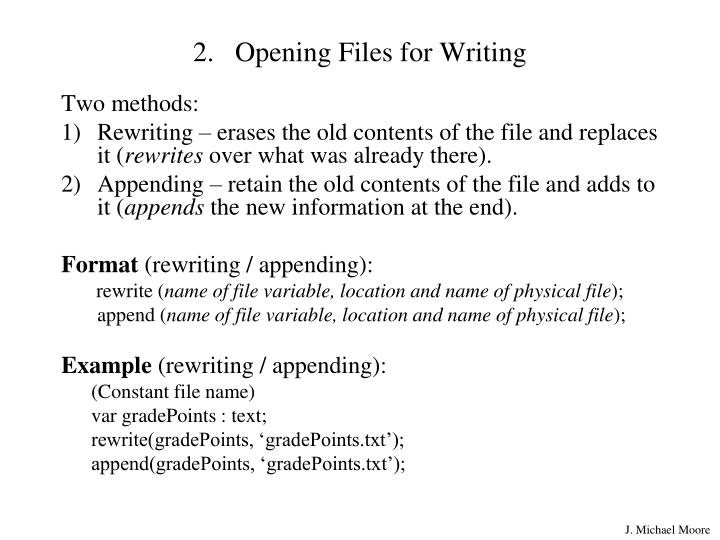 Opening Files for Writing