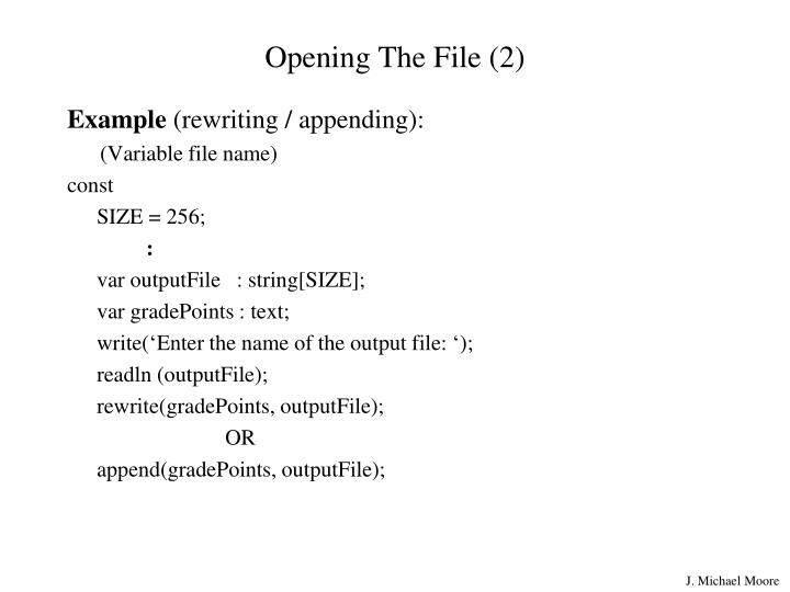 Opening The File (2)