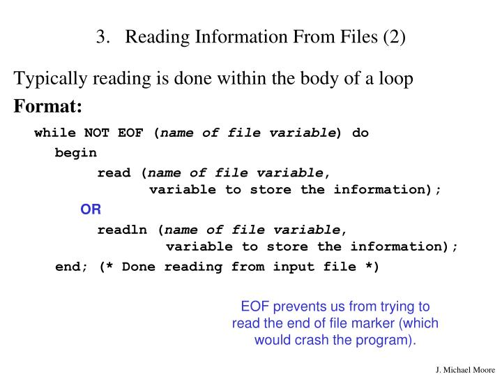 Reading Information From Files (2)