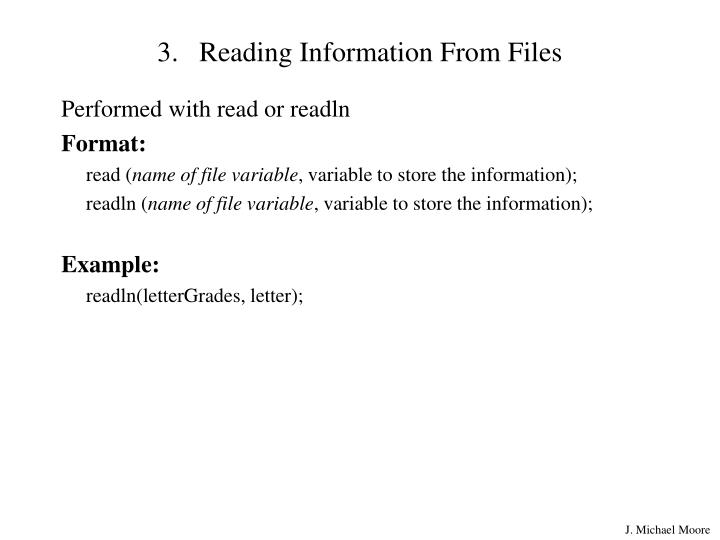 Reading Information From Files