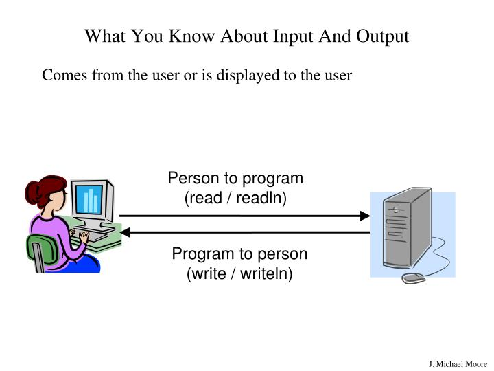 What you know about input and output