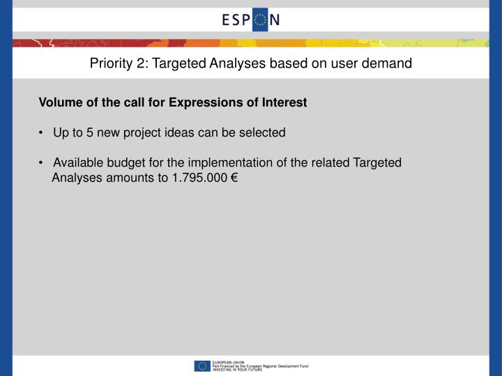 Priority 2: Targeted Analyses based on user demand