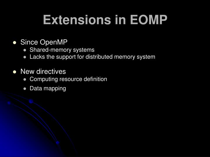 Extensions in EOMP