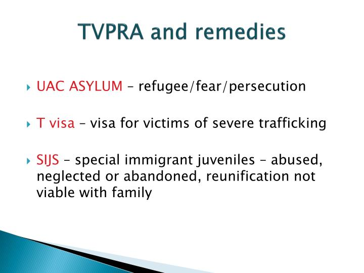 TVPRA and remedies