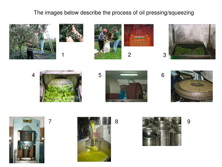The images below describe the process of oil pressing/squeezing