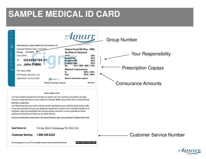 SAMPLE MEDICAL ID CARD