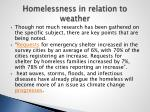 homelessness in relation to weather