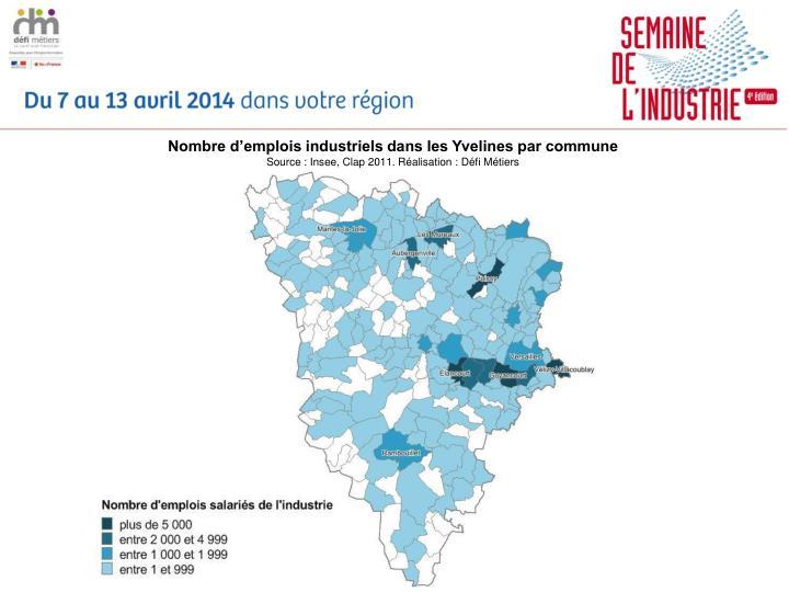 Nombre d'emplois industriels dans les Yvelines par commune