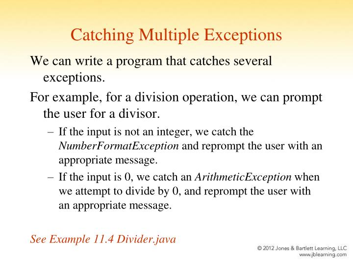 Catching Multiple Exceptions