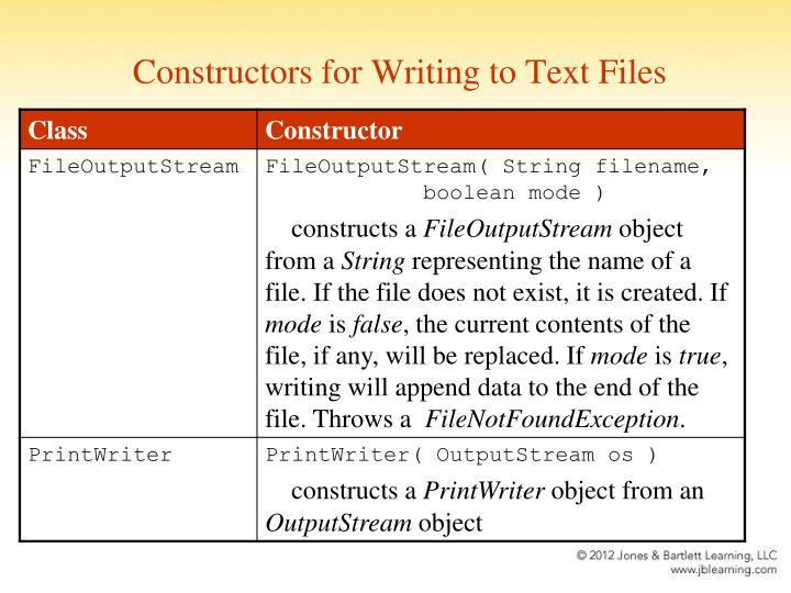 Constructors for Writing to Text Files