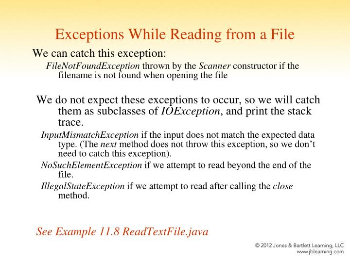 Exceptions While Reading from a File