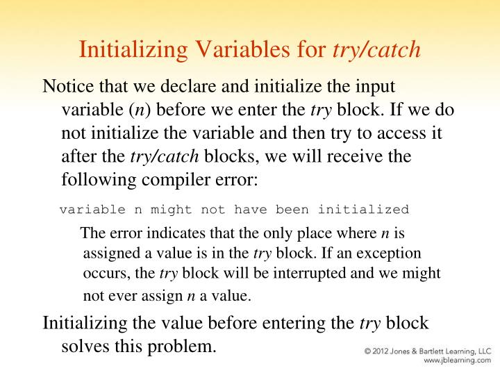 Initializing Variables for
