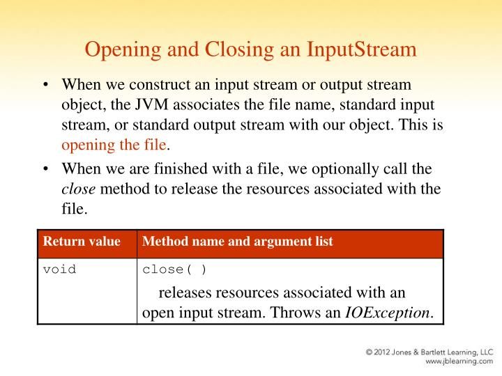 Opening and Closing an InputStream