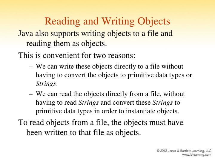 Reading and Writing Objects