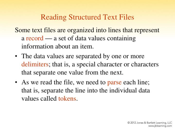 Reading Structured Text Files