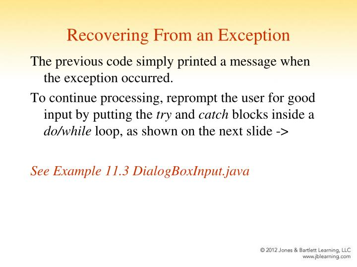 Recovering From an Exception