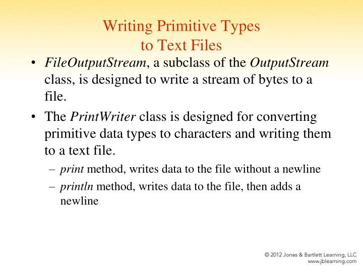 Writing Primitive Types