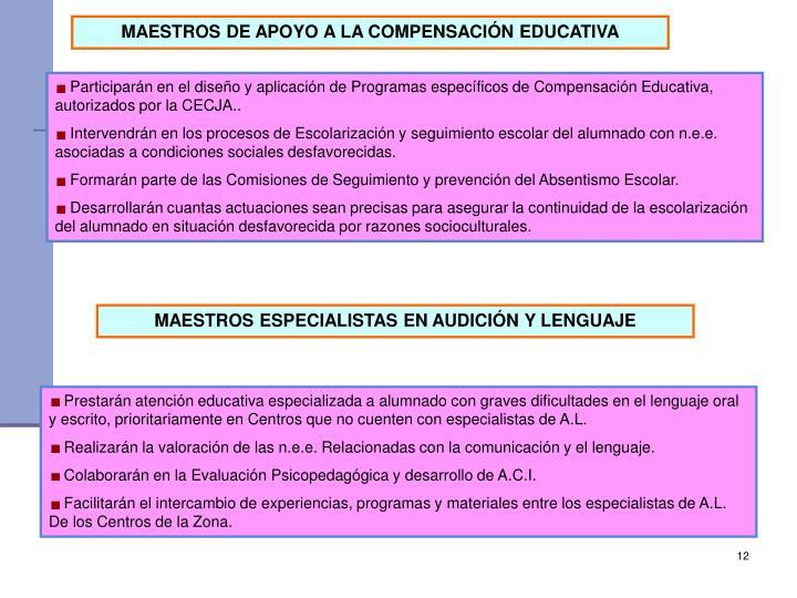 MAESTROS DE APOYO A LA COMPENSACIÓN EDUCATIVA