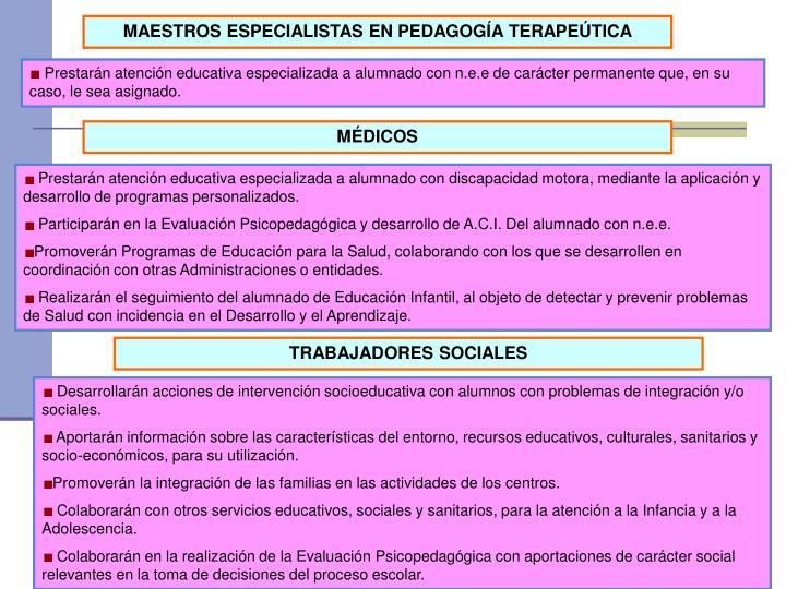 MAESTROS ESPECIALISTAS EN PEDAGOGÍA TERAPEÚTICA