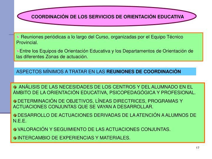 COORDINACIÓN DE LOS SERVICIOS DE ORIENTACIÓN EDUCATIVA