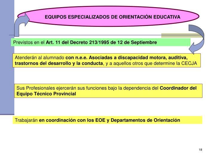 EQUIPOS ESPECIALIZADOS DE ORIENTACIÓN EDUCATIVA