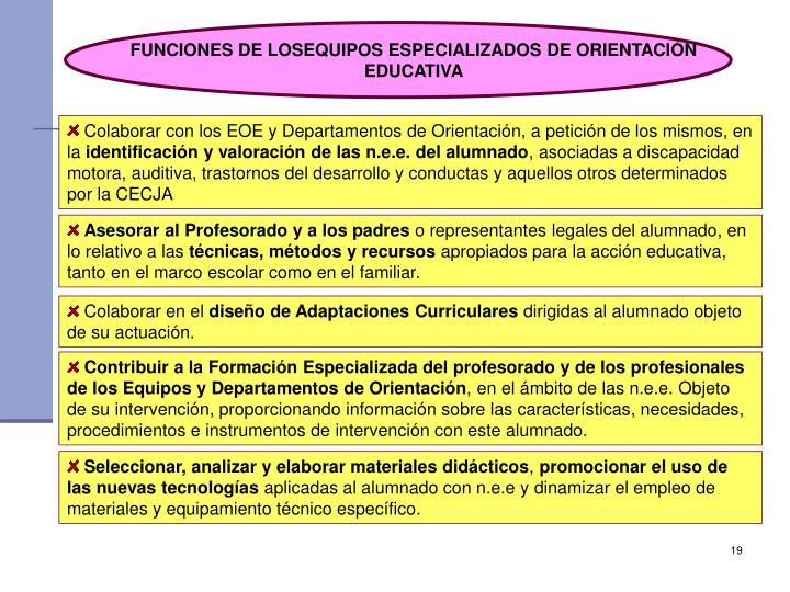 FUNCIONES DE LOSEQUIPOS ESPECIALIZADOS DE ORIENTACIÓN EDUCATIVA