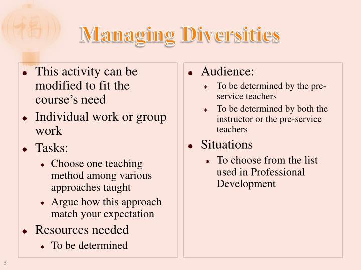 Managing Diversities