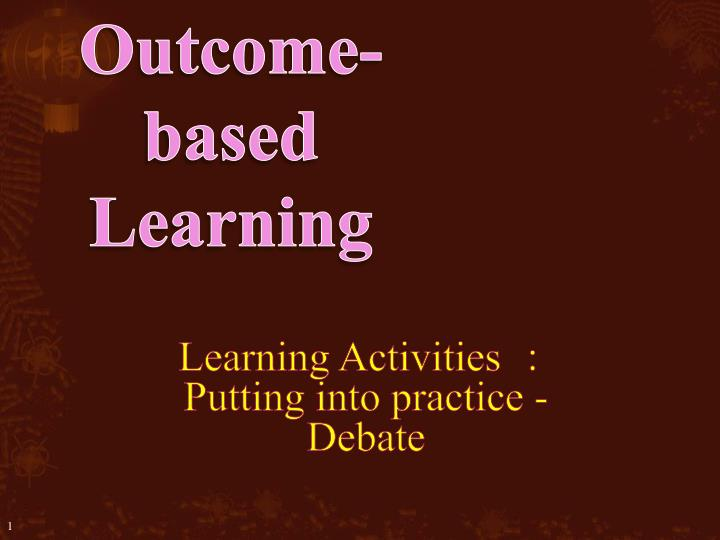 Outcome based learning