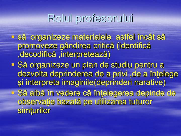 Rolul profesorului