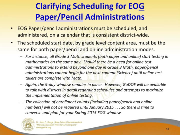 Clarifying Scheduling for EO
