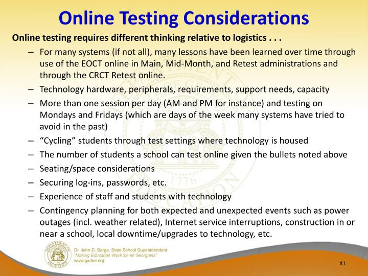 Online Testing Considerations