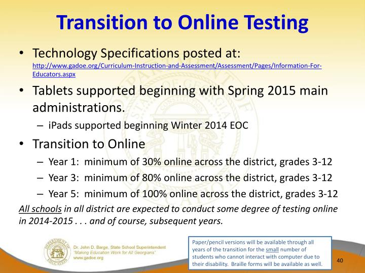 Transition to Online Testing