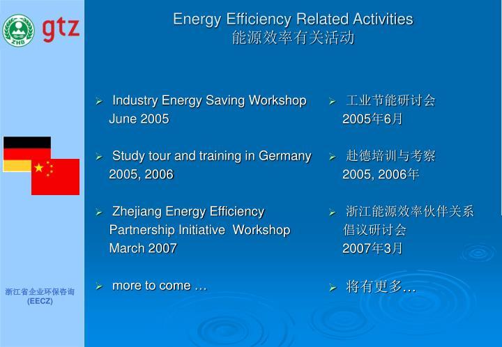 Energy Efficiency Related Activities