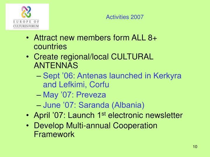 Activities 2007