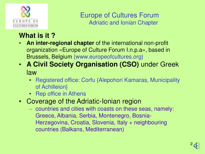 Europe of cultures forum adriatic and ionian chapter
