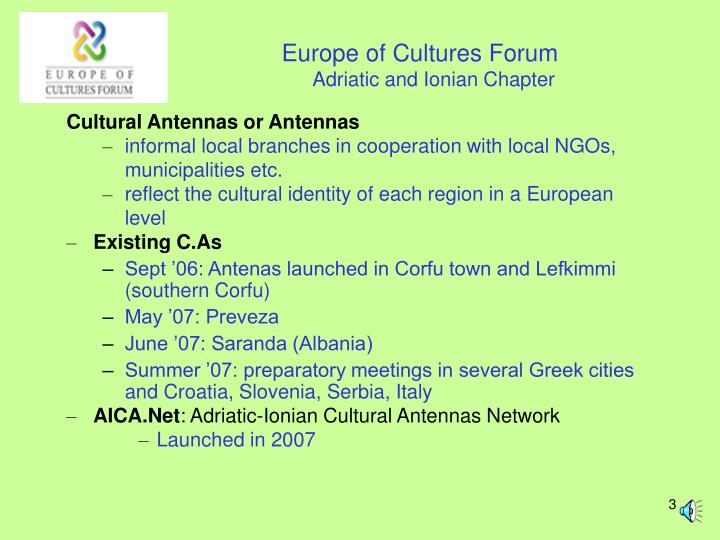 Europe of cultures forum adriatic and ionian chapter1