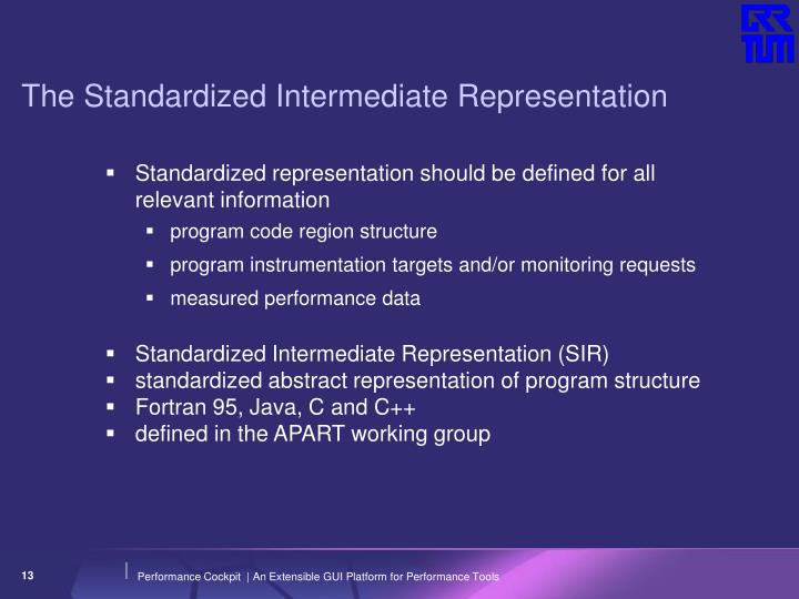The Standardized Intermediate Representation